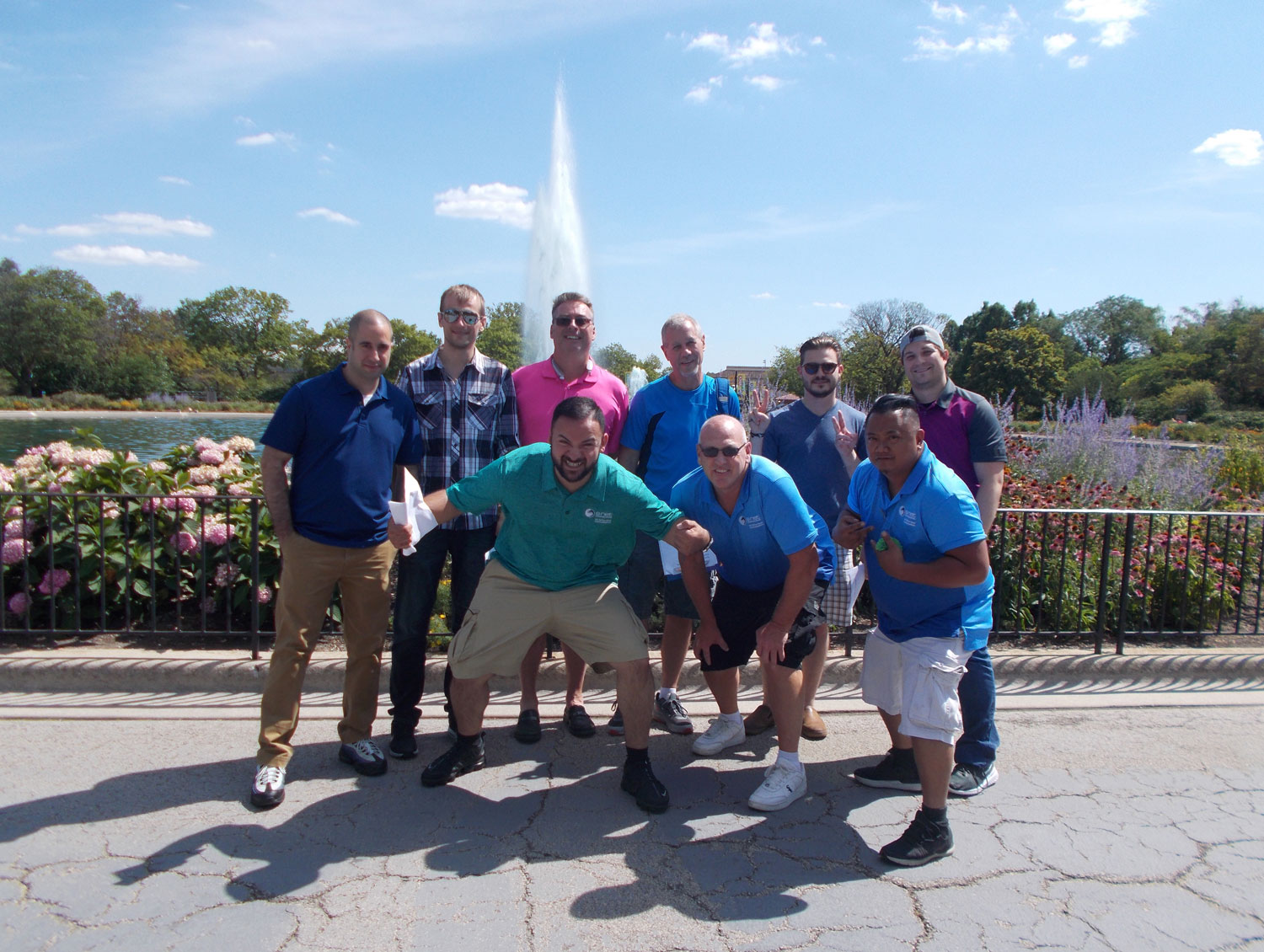 Team Funny McFuns enjoying the sunshine at the Roosevelt fountain.