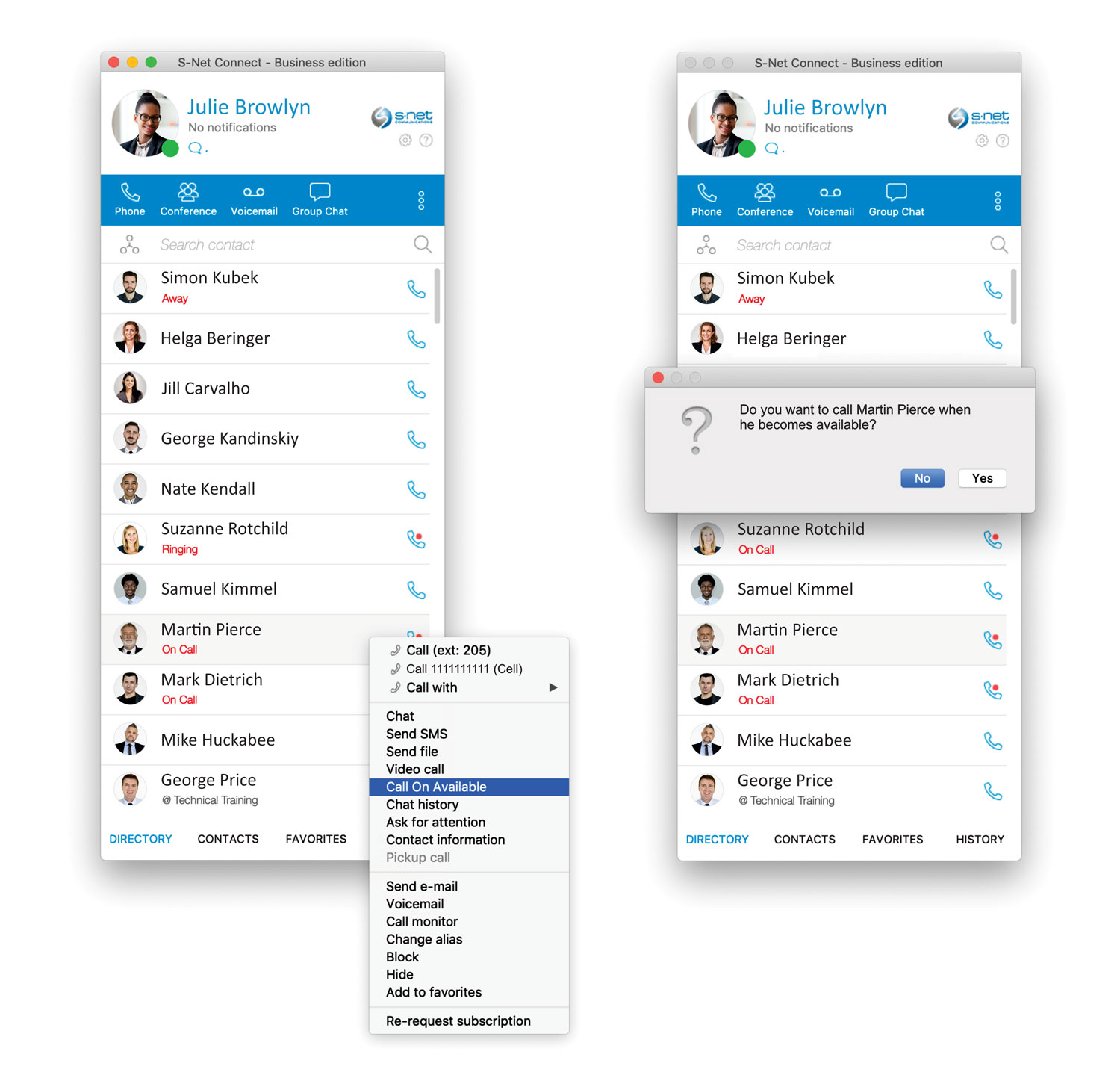 Automatically call when your colleagues become available.