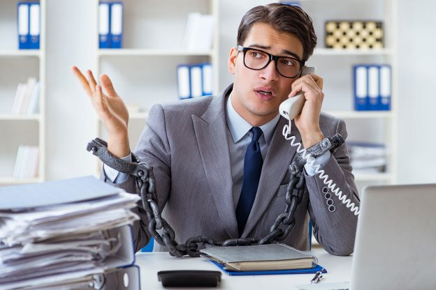 Chained to Office Phone