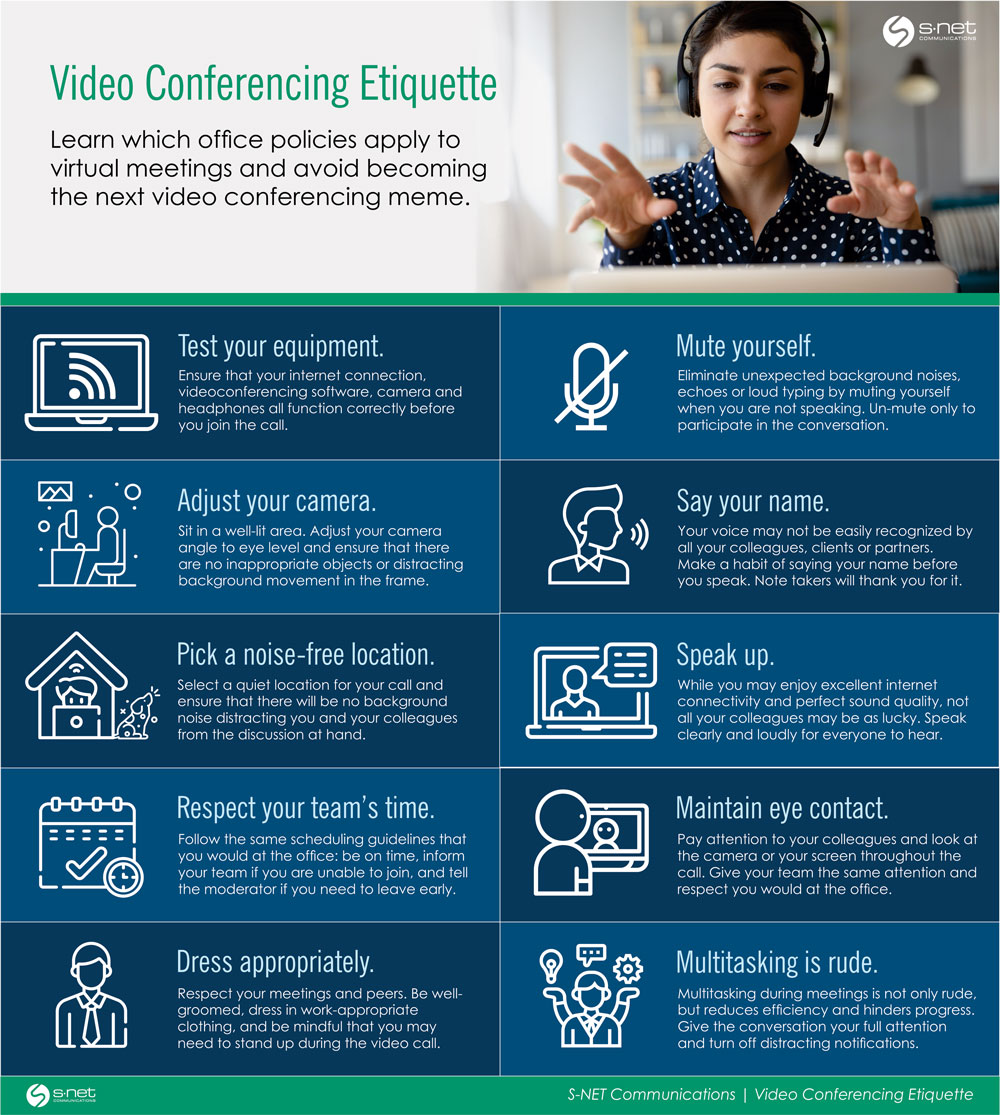 Video conferencing etiquette when working from home.